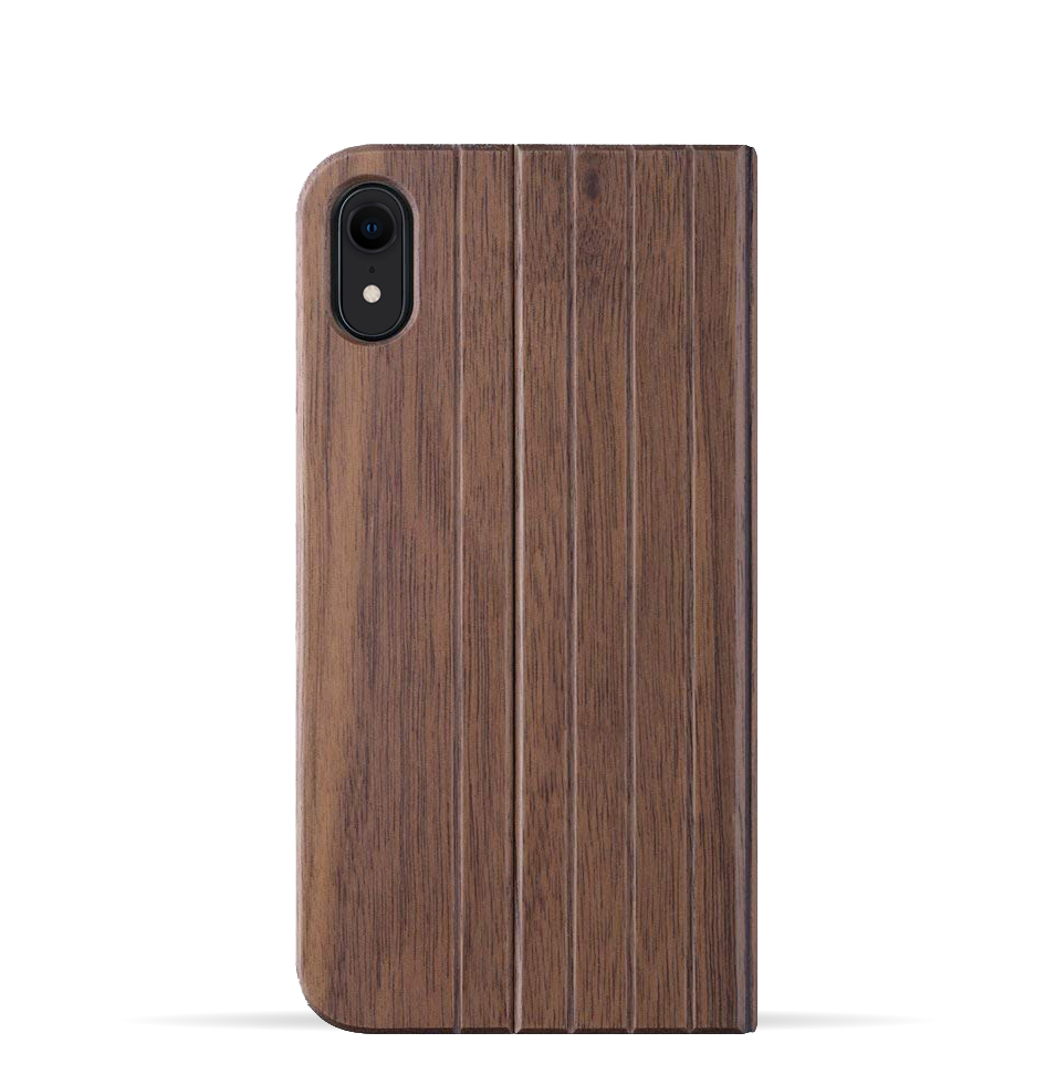 iPhone XR Case. Real Walnut Wood. Folio Flip Book Style. - iATO