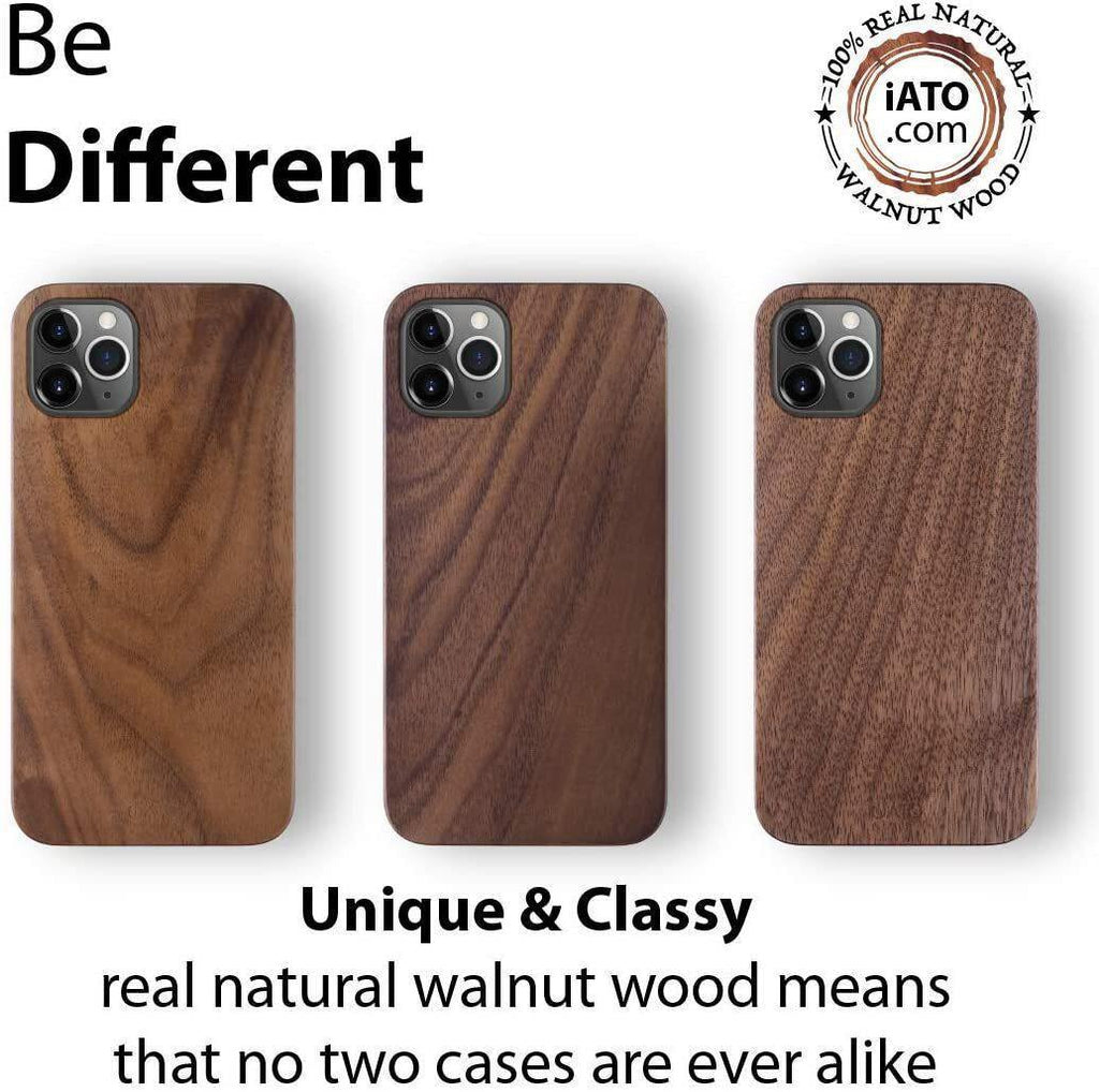 iPhone 12 Pro Max Case. Real Natural Walnut Wood. Minimalistic Design. - iATO