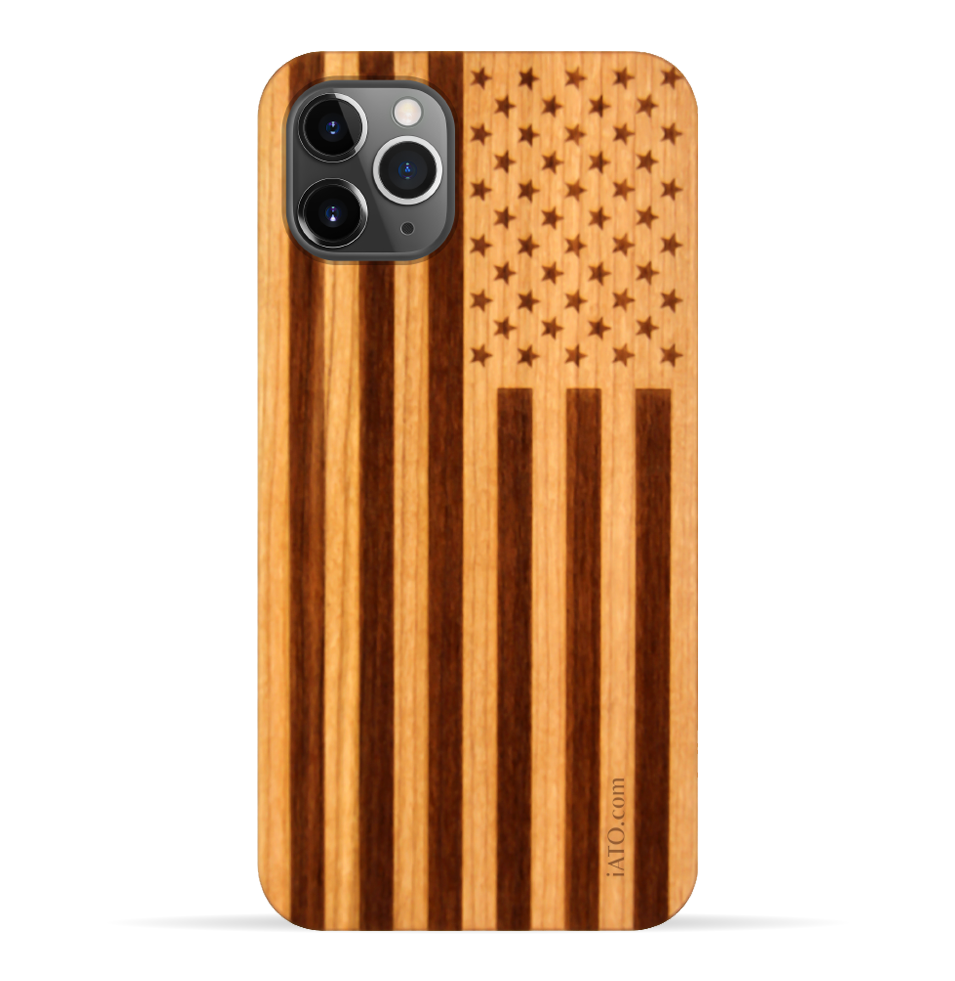 iPhone 11 Pro Max Case. Real American Flag Cherry Wood. 360 Protection. - iATO