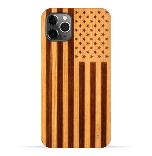iPhone 11 Pro Max Case. Real American Flag Cherry Wood. 360 Protection. - iATO Awesome Accessories