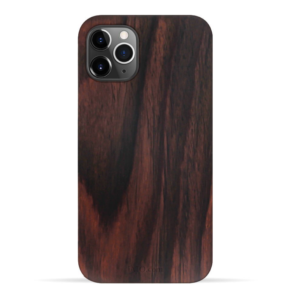 iPhone 11 Pro Case. Real Natural Ebony Wood. 360 Protection. - iATO