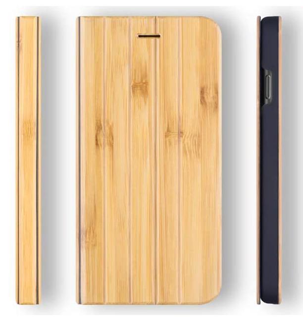 iPhone SE 2020 / 8 / 7 Case. Real Bamboo Wood. Folio Flip Book Style. - iATO