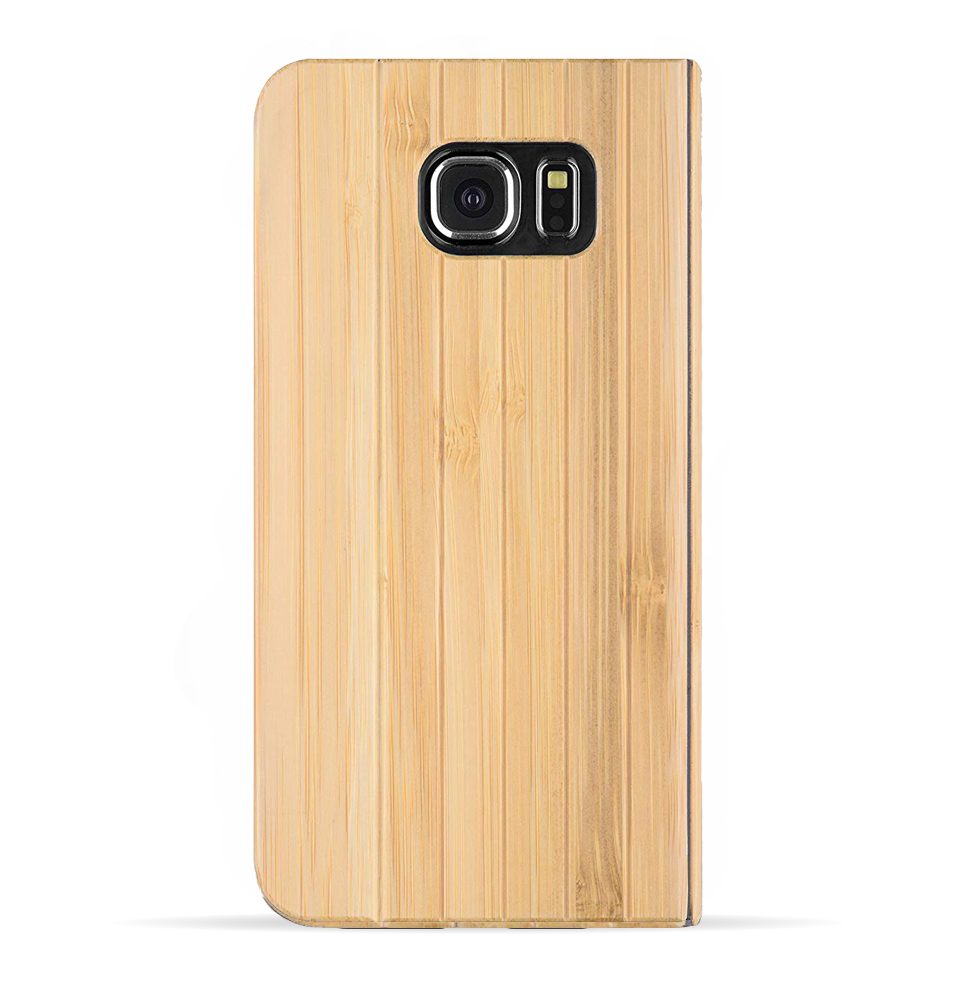 Samsung Galaxy S6 Case. Real Bamboo Wood. Folio Flip Book Style. - iATO