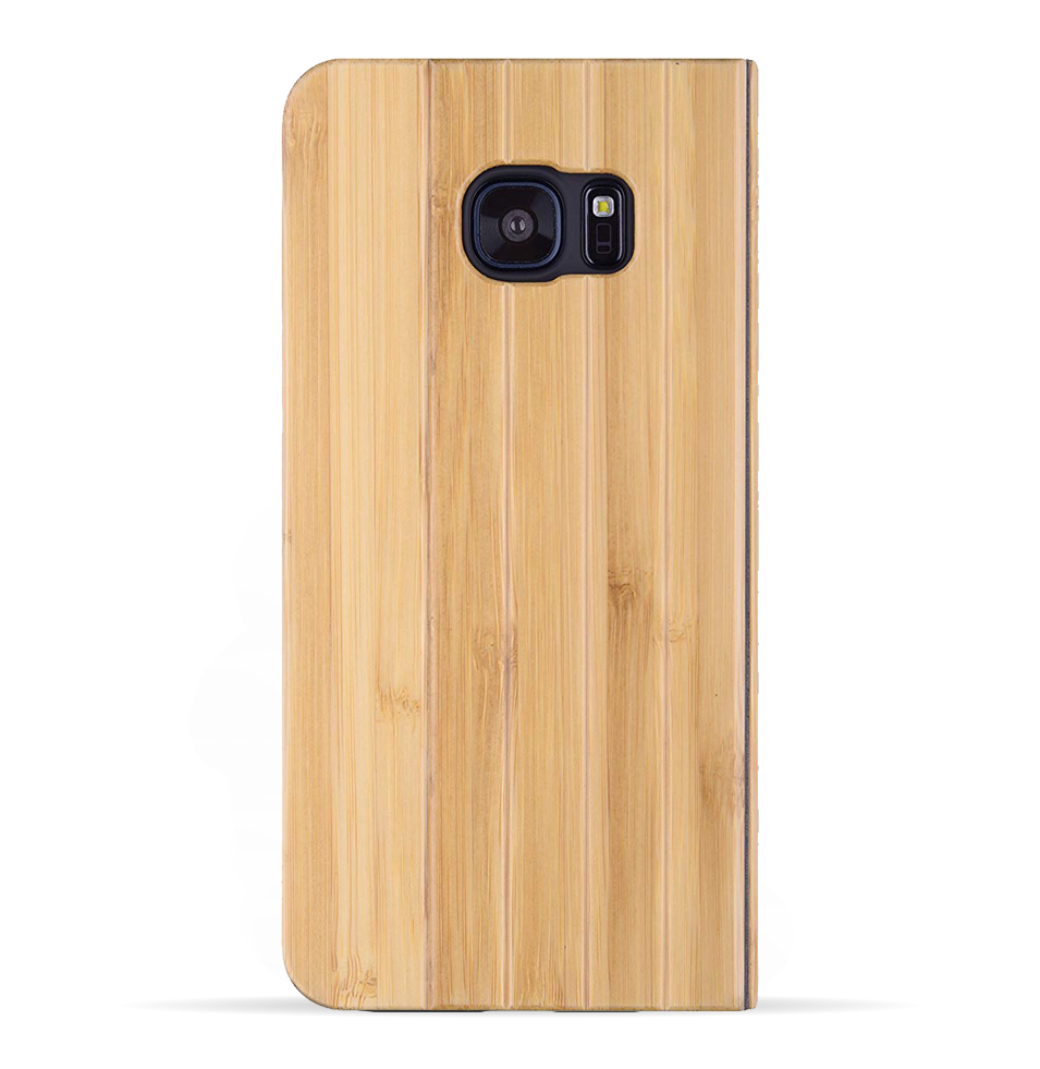 Samsung Galaxy S7 Edge Case. Real Bamboo Wood. Folio Flip Book Style. - iATO