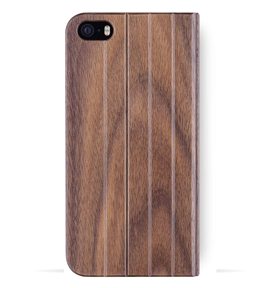 iPhone 5 / 5s / SE Case. Real Walnut Wood. Folio Flip Book Style. - iATO