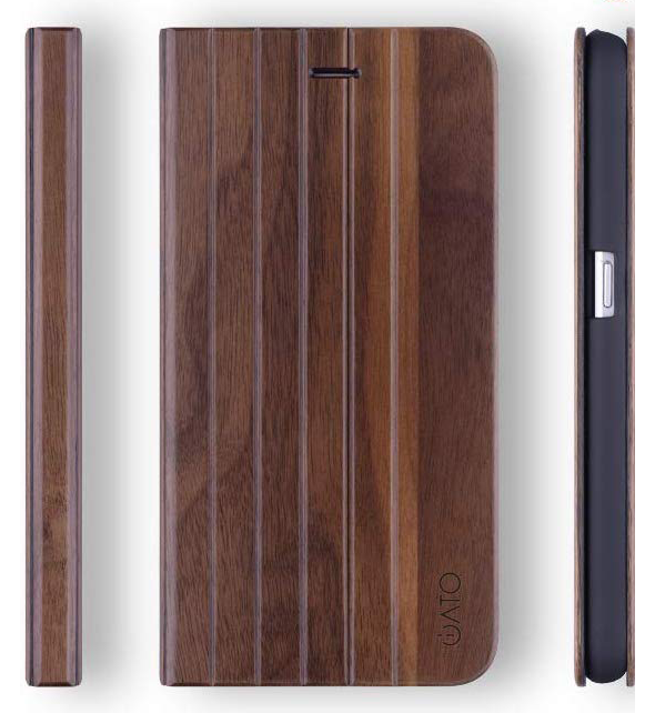 Samsung Galaxy S7 Case. Real Walnut Wood. Folio Flip Book Style. - iATO Awesome Accessories
