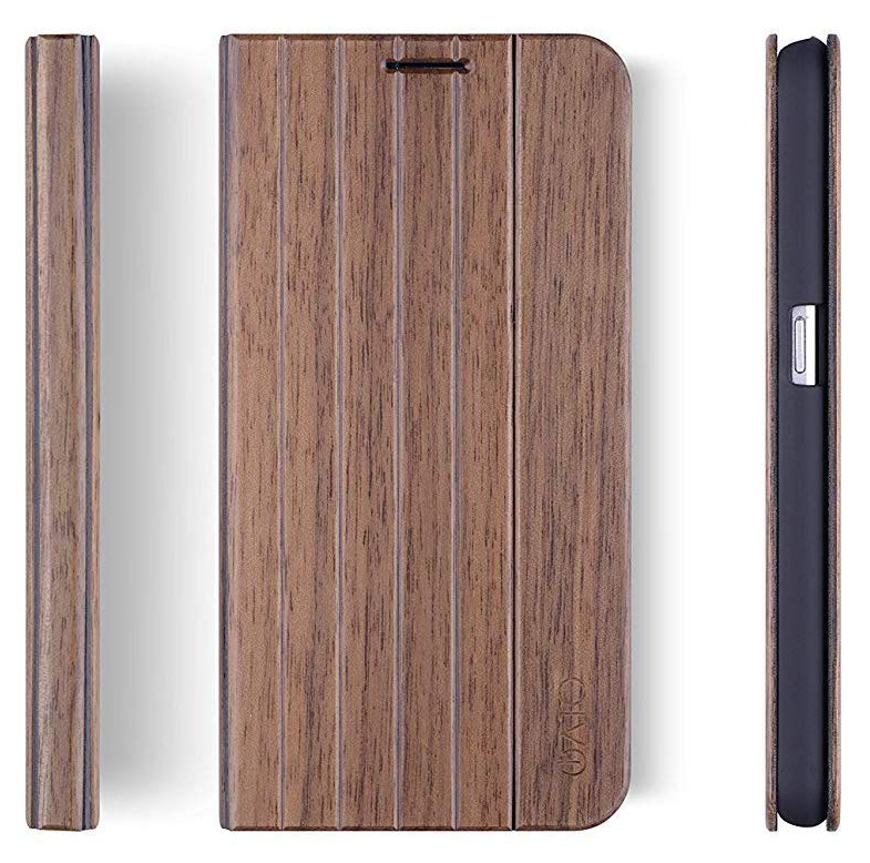 Samsung Galaxy S7 Edge Case. Real Walnut Wood. Folio Flip Book Style.