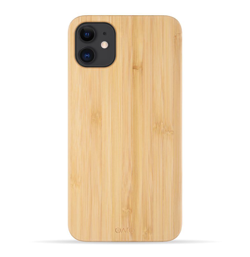 iPhone 11 Case. Real Natural Bamboo Wood. Minimalistic Design. - iATO