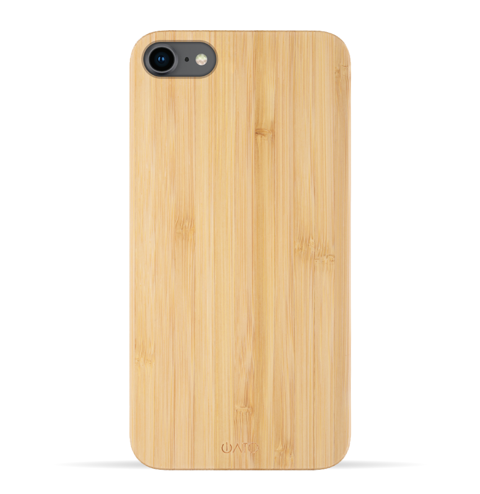 iPhone SE 2020 / 8 / 7 Case. Real Natural Bamboo Wood. Minimalistic Design. - iATO