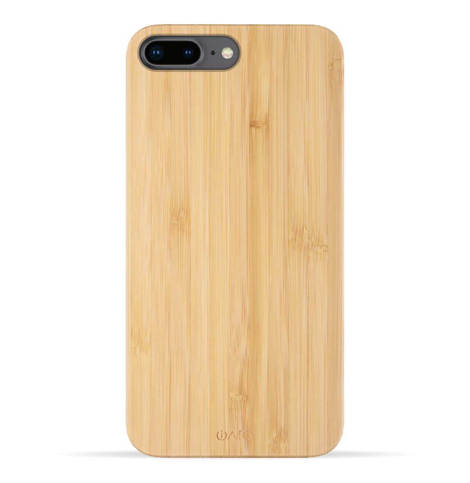 iPhone 8 Plus / 7 Plus Case. Real Natural Bamboo Wood. Minimalistic Design. - iATO
