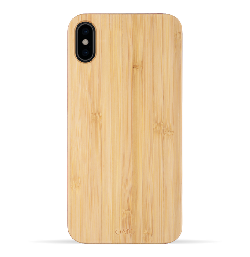 iPhone Xs Max Case. Real Natural Bamboo Wood. Minimalistic Design.