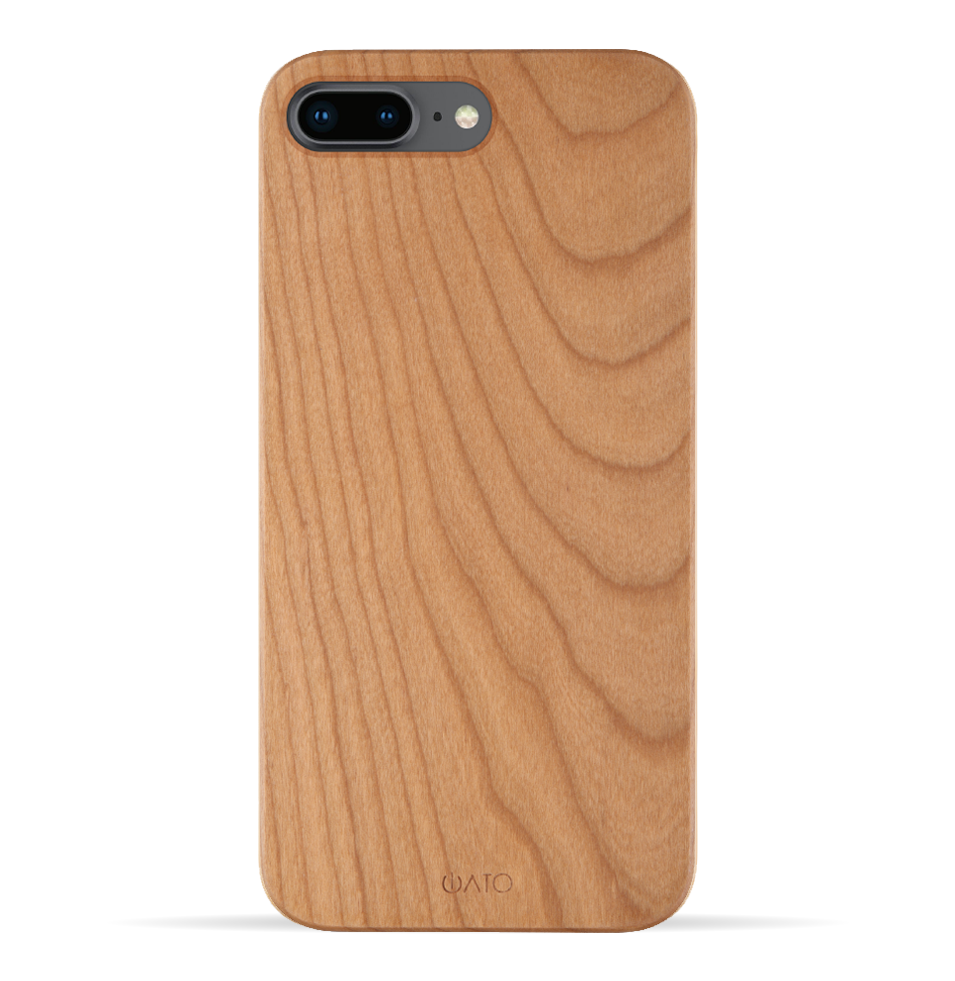 iPhone 8 Plus / 7 Plus Case. Real Natural Cherry Wood. Minimalistic Design. - iATO