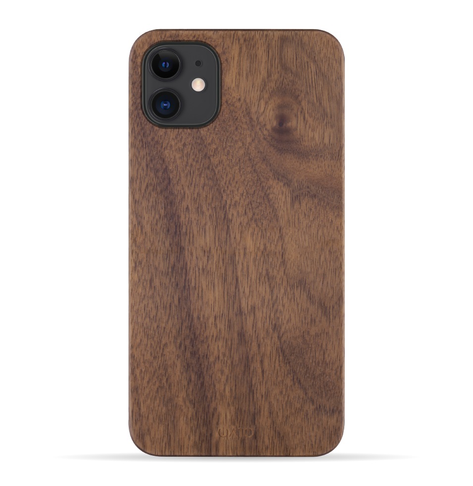 iPhone 11 Case. Real Natural Walnut Wood. 360 Protection. - iATO