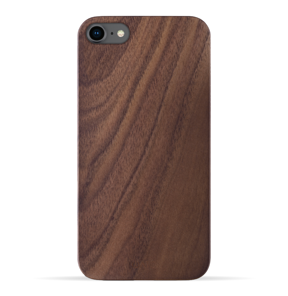 iPhone SE 2020 / 8 / 7 Case. Real Natural Walnut Wood. Minimalistic Design. - iATO