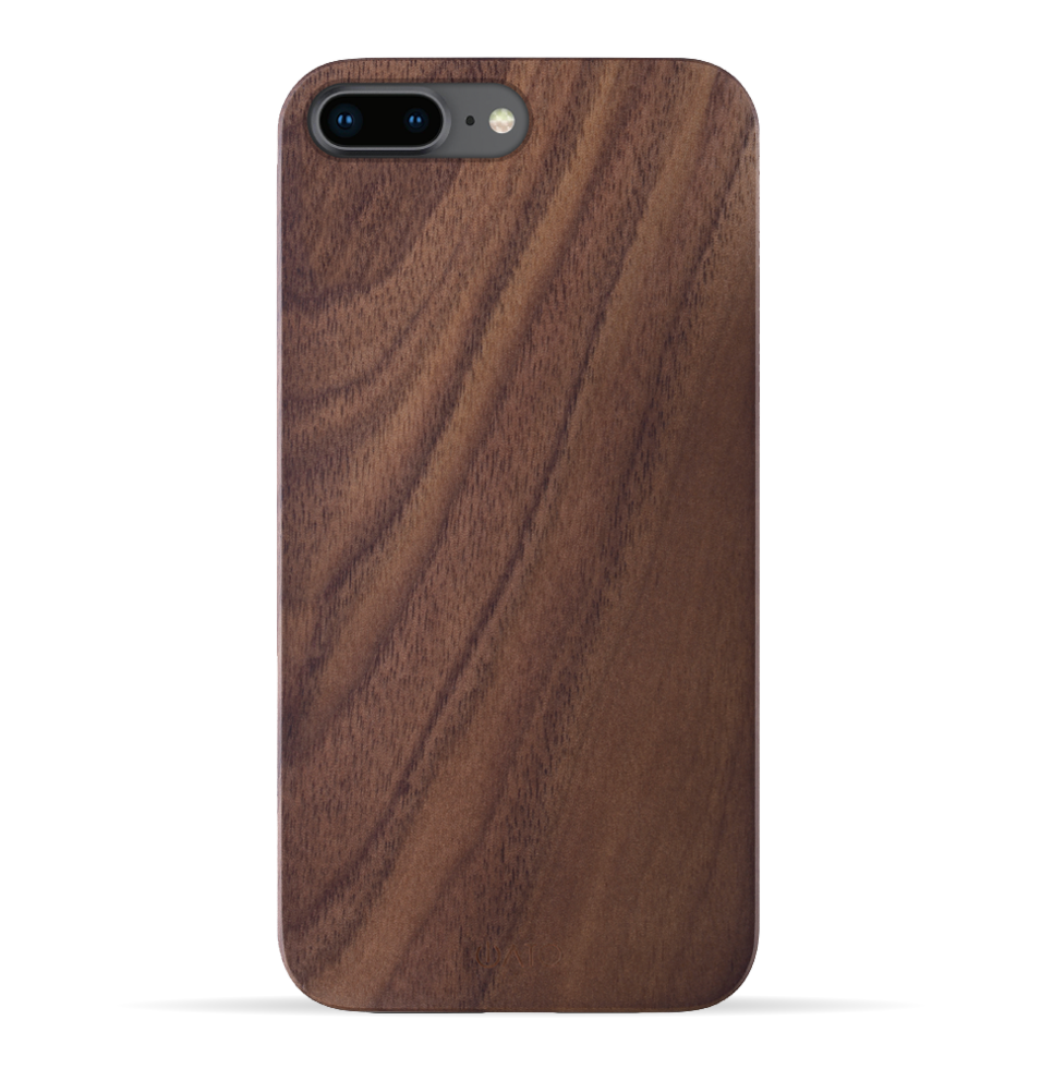 iPhone 8 Plus / 7 Plus Case. Real Natural Walnut Wood. Minimalistic Design. - iATO