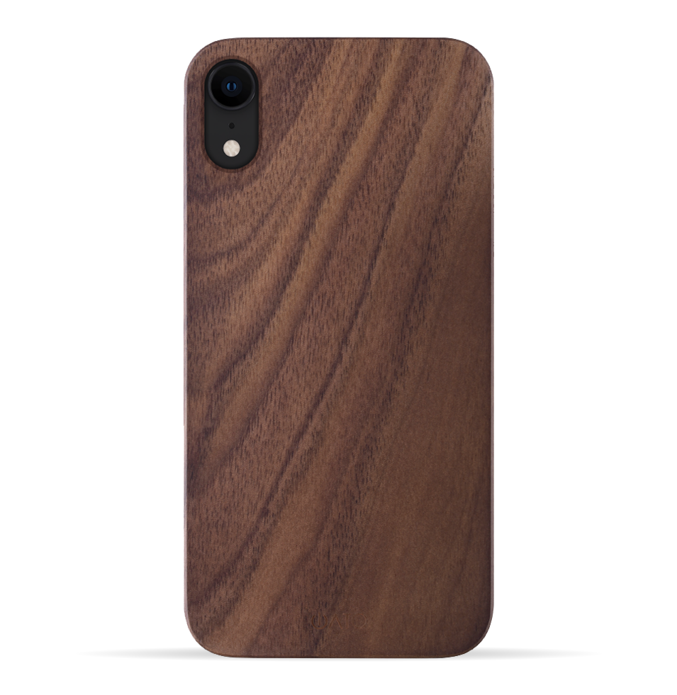 iPhone XR Case. Real Natural Walnut Wood. Minimalistic Design.