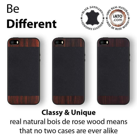 iPhone SE / 5s / 5 Real Rose Wood & Genuine Saffiano Leather Case - iATO - Awesome Accessories