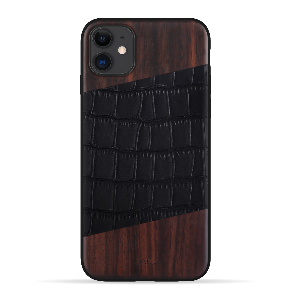 iPhone 11 Case. Real Natural Bois De Rosewood & Black Croco Grain Genuine Leather.