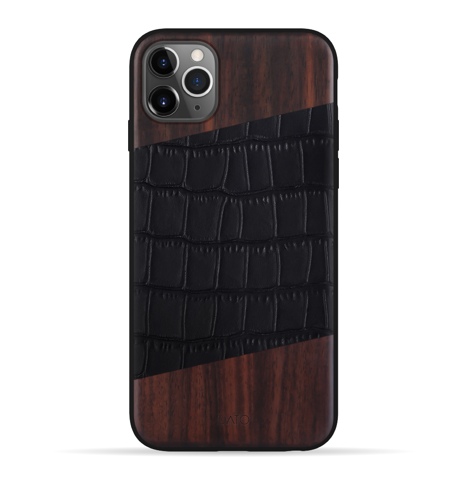 iPhone 11 Pro Case. Real Bois de Rosewood & Black Croco Leather. - iATO Awesome Accessories