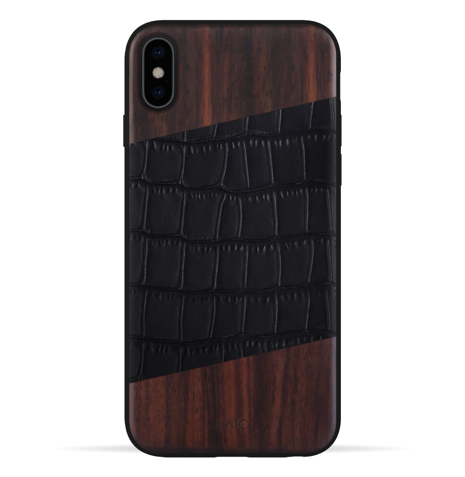 iPhone Xs Max Case. Real Bois de Rosewood & Black Croco Leather. - iATO