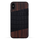 iPhone Xs Max Case. Real Bois de Rosewood & Black Croco Leather. - iATO Awesome Accessories