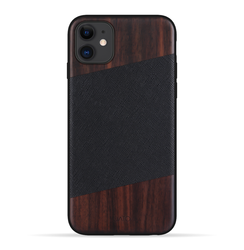iPhone 11 Case. Real Bois de Rose Wood & Black Saffiano Genuine Leather. - iATO