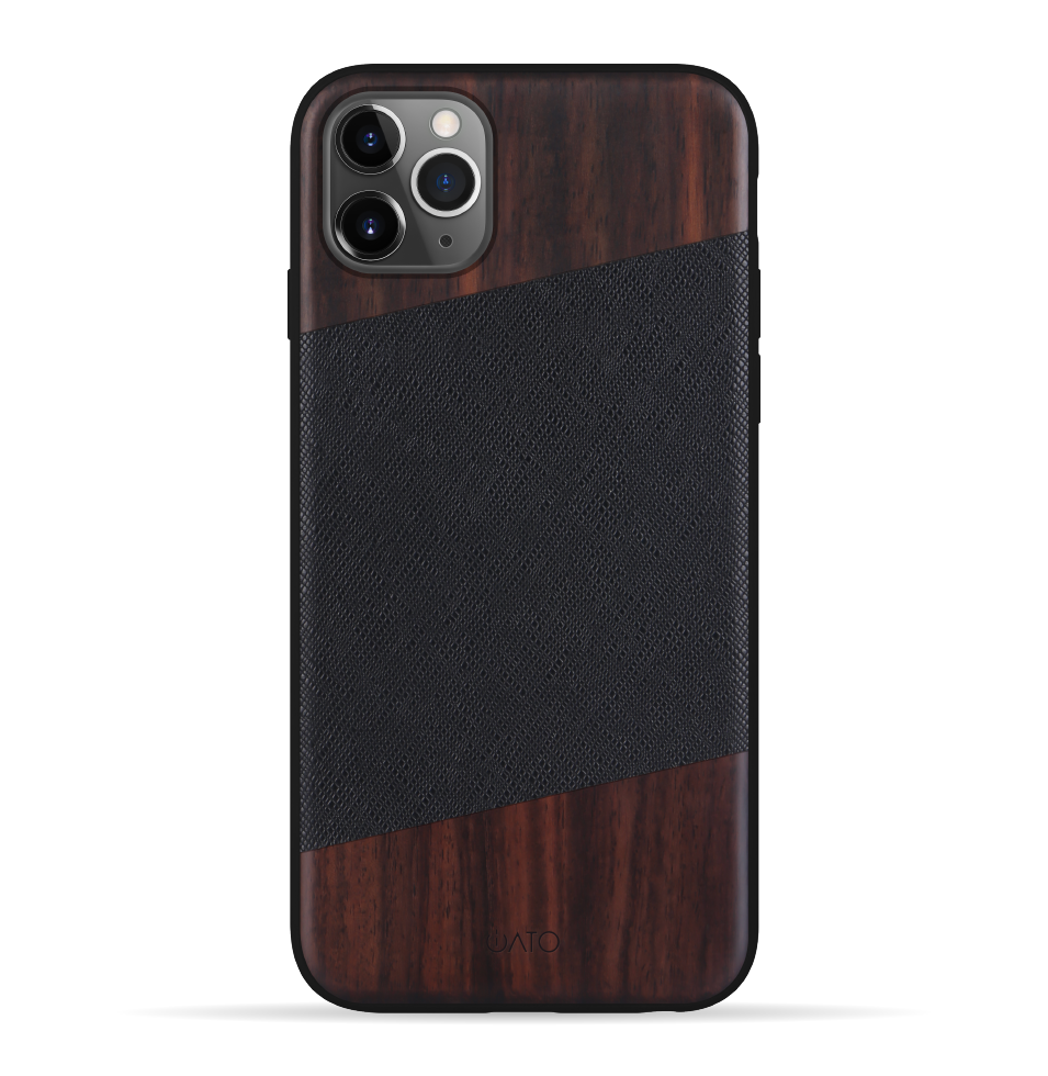 iPhone 11 Pro Case. Real Bois de Rosewood & Black Saffiano Leather.