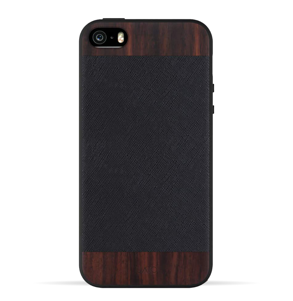 iPhone 5 / 5s / SE. Real Bois de Rosewood & Black Saffiano Genuine Leather. - iATO