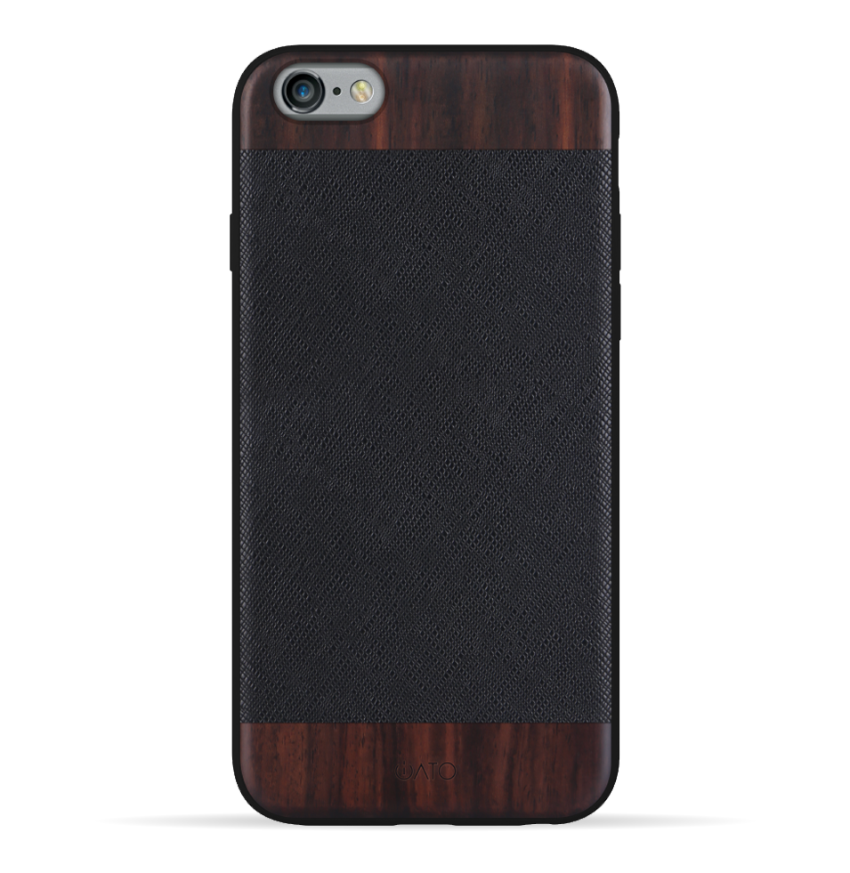 iPhone 6s Plus / 6 Plus Case. Real Bois de Rosewood & Black Saffiano Leather. - iATO