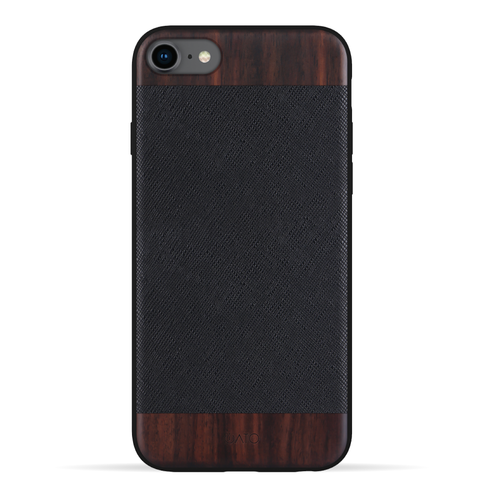 iPhone SE 2020 / 8 / 7 Case. Real Bois de Rosewood & Black Saffiano Leather. - iATO Awesome Accessories