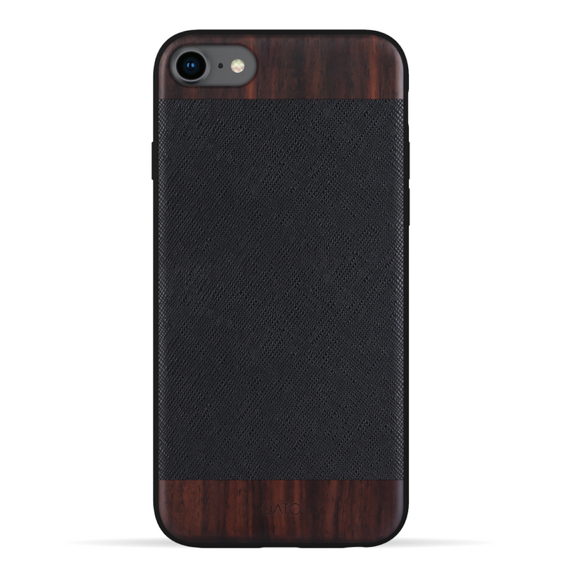 iPhone SE 2020 / 8 / 7 Case. Real Bois de Rosewood & Black Saffiano Leather.