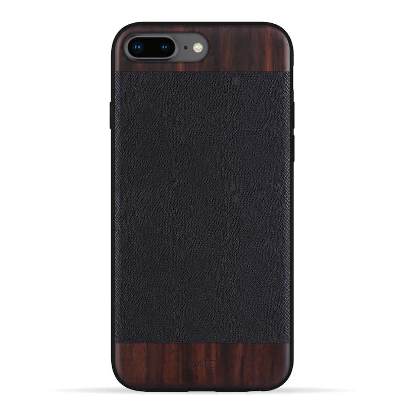iPhone 8 Plus / 7 Plus Case. Real Bois de Rosewood & Black Saffiano Leather.