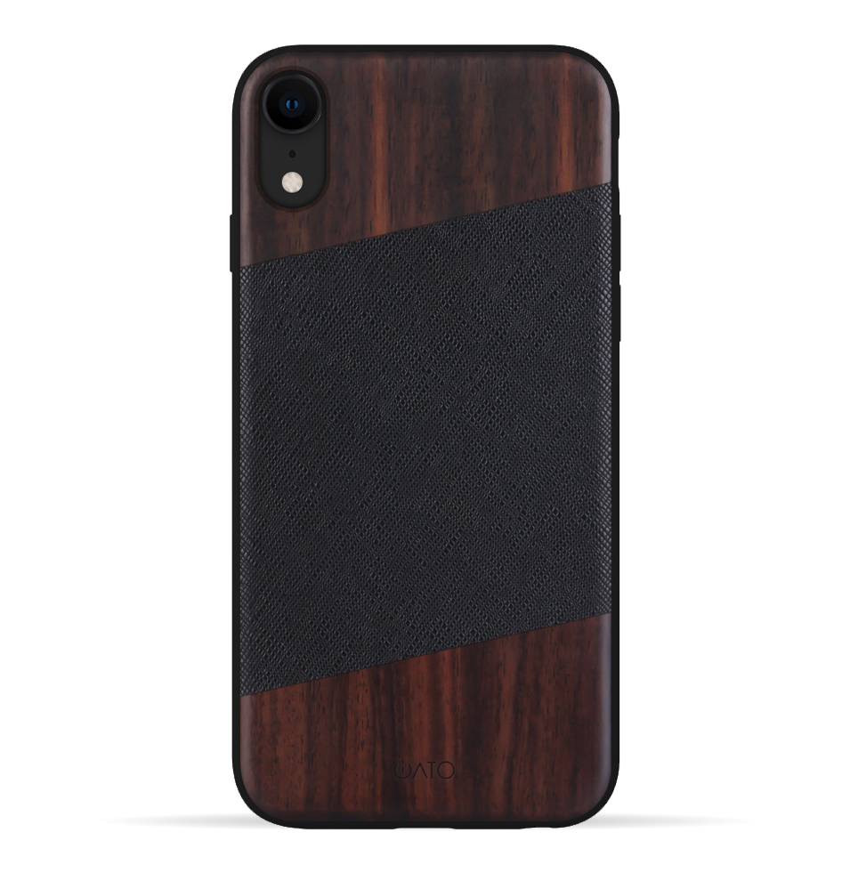 iPhone XR Case. Real Bois de Rosewood & Black Saffiano Leather. - iATO