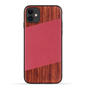 iPhone 11 Case. Real Natural Rosewood & Red Lizard Pattern Genuine Leather.