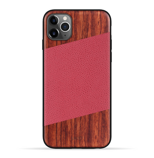 iPhone 11 Pro Max Case. Real Natural Rosewood & Red Lizard Pattern Genuine Leather.