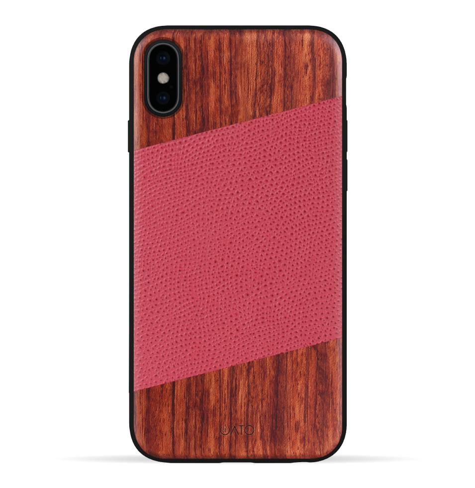 iPhone Xs Max Case. Real Rosewood & Red Lizard Pattern Genuine Leather.