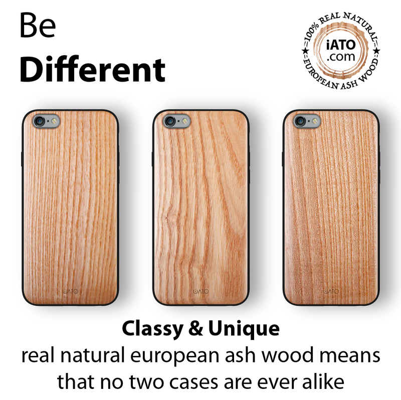 iPhone 6s Plus / 6 Plus Case. Real Natural European Ash Wood. 360 Protection. - iATO Awesome Accessories