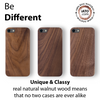 iPhone SE 2020 / 8 / 7 Case. Real Natural Walnut Wood. Minimalistic Design. - iATO Awesome Accessories