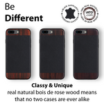 iPhone 8 Plus / 7 Plus Case. Real Bois de Rosewood & Black Saffiano Leather. - iATO Awesome Accessories
