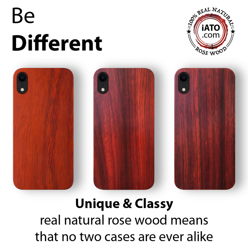 iPhone XR Case. Real Natural Rose Wood. Minimalistic Design.