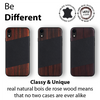 iPhone XR Case. Real Bois de Rosewood & Black Saffiano Leather. - iATO Awesome Accessories