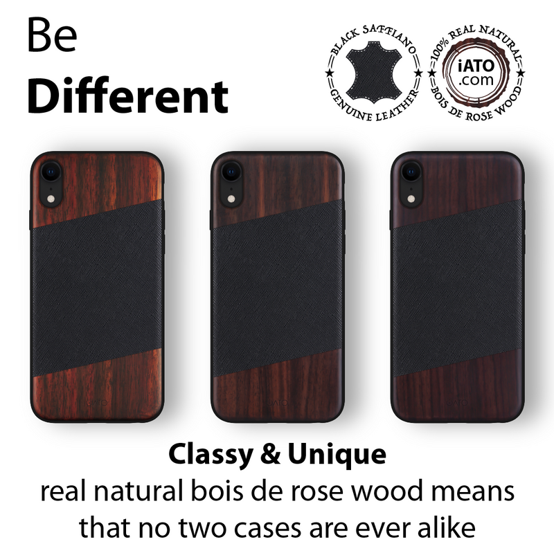iPhone XR Case. Real Bois de Rosewood & Black Saffiano Leather.
