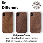 iPhone Xs Max Case. Real Natural Walnut Wood. Minimalistic Design.