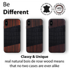 iPhone Xs Max Case. Real Bois de Rosewood & Black Croco Leather.