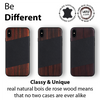 iPhone Xs/X Case. Real Bois de Rosewood & Black Saffiano Leather.