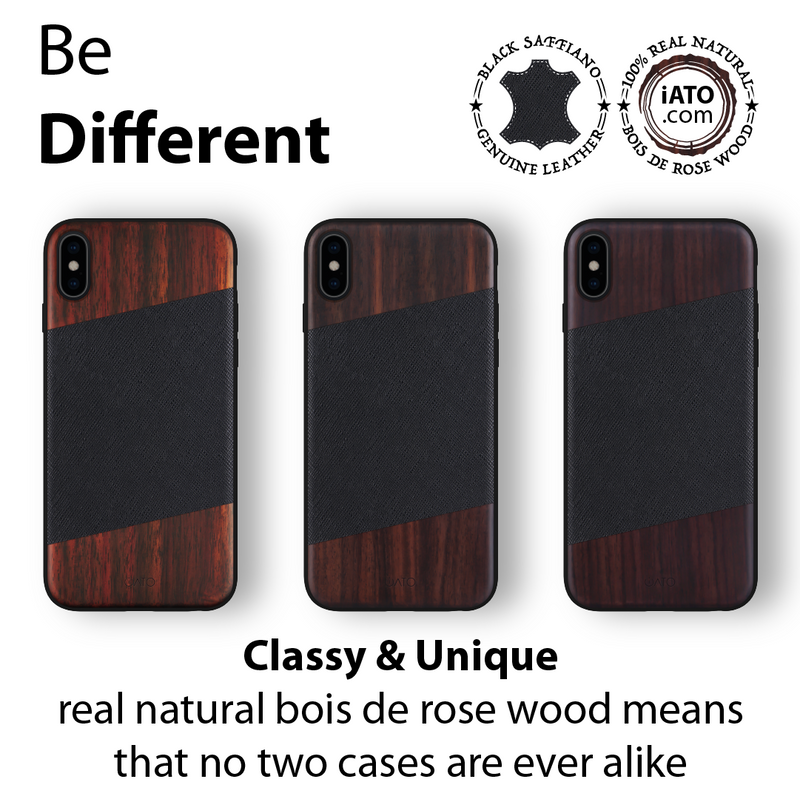 iPhone Xs/X Case. Real Bois de Rosewood & Black Saffiano Leather. - iATO
