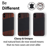 iPhone Xs Max Case. Real Bois de Rosewood & Black Saffiano Leather. - iATO