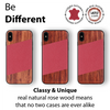 iPhone Xs Max Case. Real Rosewood & Red Lizard Pattern Genuine Leather. - iATO Awesome Accessories