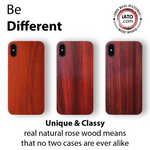 iPhone Xs Max Case. Real Natural Rose Wood. Minimalistic Design.