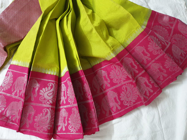 Parrot green Silk Cotton Saree with pink pallu & Border
